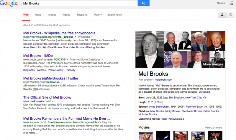 Mel Brooks in Google