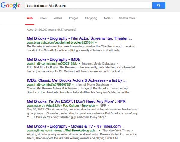 talented actor Mel Brooks in Google