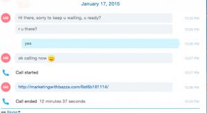 Conversation through Skype