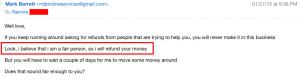 The promise refund money